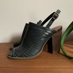 Lucky Brand Black Leather Strappy Mule Size 7.5